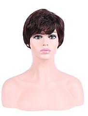 Kvinder Syntetiske parykker Lågløs Kort Bølget Beige Natural Hairline Frisure i lag Naturlig paryk Kostumeparyk