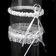 cheap Wedding Garters-Lace Satin Classic Wedding Garter with Ribbon Tie Flower Garters