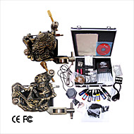 cheap Starter Tattoo Kits-Tattoo Machine Professional Tattoo Kit 2 carved machine liner & shader High Quality LCD power supply 2 x iron grip 2 x aluminum grip 50