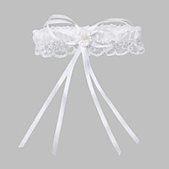 Polyester Blondelukning Klassisk Bryllup Garter  -  Imitationsperler Rosette Strømpebånd