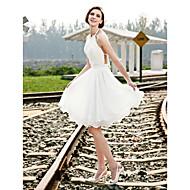 cheap Little White Dresses-A-Line Princess Halter Knee Length Chiffon Custom Wedding Dresses with Beading Draping Sash / Ribbon by LAN TING BRIDE®