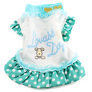 Dog Dress Dog Clothes Letter & Number Green Cotton Costume For Spring &  Fall