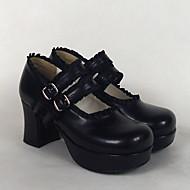 Ayakkabılar Klasik/Geleneksel Lolita Lolita Yüksek Topuk Ayakkabılar Solid 7.5 CM Pembe Siyah Beyaz UyumlulukPU Deri/Poliüretan Deri