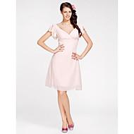 Γραμμή Α / Πριγκίπισσα Λαιμόκοψη V Μέχρι το γόνατο Σιφόν Φόρεμα Παρανύμφων με Χιαστί με LAN TING BRIDE®