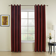 Rod Pocket Grommet Top Tab Top Double Pleated Two Panels Curtain Modern , Solid Dining Room 100%Polyester Faux Linen Polyester Material