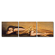 Handgeschilderde Mensen Drie panelen Canvas Hang-geschilderd olieverfschilderij For Huisdecoratie