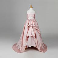 Γραμμή Α / Βραδινή τουαλέτα / Πριγκίπισσα Μακρύ / Ουρά μέτριου μήκους Φόρεμα για Κοριτσάκι Λουλουδιών - Ταφτάς Αμάνικο Λουριά με Πιασίματα / Λουλούδι με LAN TING BRIDE® / Άνοιξη / Καλοκαίρι