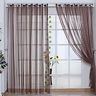 billige Gjennomsiktige gardiner-To paneler Neoklassisk Stripe Brun Stue Polyester Sheer Gardiner Shades