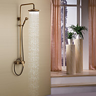 Antique Shower System Rain Shower Handshower Included Ceramic Valve Three Holes Single Handle Three Holes Antique Brass , Shower Faucet