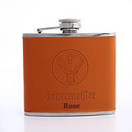 cheap Personalized Drinkware-Personalized Father's Day Gift Orange 5oz PU Leather Flask