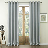 cheap Blackout Curtains-Rod Pocket Grommet Top Tab Top Double Pleat Two Panels Curtain Neoclassical, Embossed Solid Polyester Material Blackout Curtains Drapes