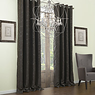 Rod Pocket Grommet Top Tab Top Double Pleat Two Panels Curtain Neoclassical , Embossed Leaf Polyester Material Blackout Curtains Drapes