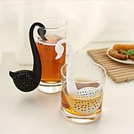 Schwan geformt Teelöffel Teesieb (zufällige Farbe) Schrank Lagerung