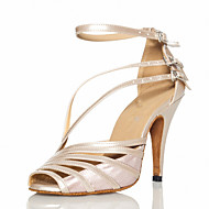 Women's Latin Ballroom Satin Sandal Buckle Customized Heel Grey Nude Black Customizable