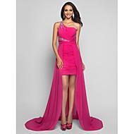 Kroj uz tijelo Na jedno rame Kratki / mini Asimetričan kroj Šifon Formalna večer Haljina s Perlica Nabrano po TS Couture®