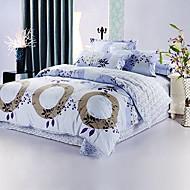baratos Roupa de Cama-4 peças 100% algodão estilo moderno cinza círculo floral edredon print cobrir definir
