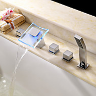 Contemporary Roman Tub LED / Waterfall / Handshower Included with  Ceramic Valve Two Handles Five Holes for  Chrome , Bathtub Faucet