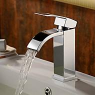 זול ברזים לחדר האמבטיה-עכשווי סט מרכזי מפל מים שסתום קרמי חור אחד חור ידית אחת אחת כרום , חדר רחצה כיור ברז