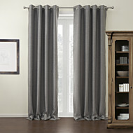 cheap Blackout Curtains-Rod Pocket Grommet Top Tab Top Double Pleat Two Panels Curtain Modern Solid Living Room 100% Polyester Polyester Material Blackout
