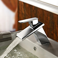 Contemporary Centerset Waterfall with  Ceramic Valve One Hole Single Handle One Hole for  Chrome , Bathroom Sink Faucet