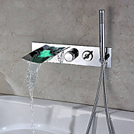 billige Rabatt Kraner-Badekarskran - Moderne Krom Vægmonteret Keramisk Ventil Bath Shower Mixer Taps / LED / Hånddusj Inkludert / Foss / Sink Legering / Rustfritt Stål