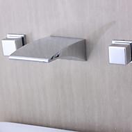 billige Rabatt Kraner-Badekarskran - Moderne Krom Vægmonteret Keramisk Ventil / To Håndtak tre hull