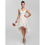 Linha A Princesa Decote V Assimétrico Renda Vestido de Madrinha com Apliques Pregas de LAN TING BRIDE®
