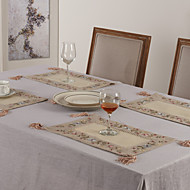 cheap Table Linens-Beige Polyester Rectangular Placemats