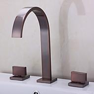 アンティーク ローマンバスタブ 滝状吐水タイプ セラミックバルブ 三つ 二つのハンドル三穴 オイルブロンズ , 浴槽用水栓