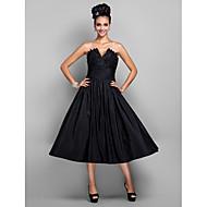 Prinsesse V-strop Te-længde Taft Lille sort kjole Cocktailparty / Skolebal Kjole med Plissé ved TS Couture®