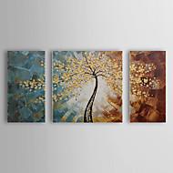 Pintados à mão Floral/BotânicoPastoril 3 Painéis Tela Pintura a Óleo For Decoração para casa