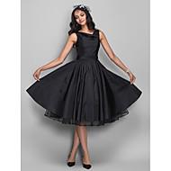 Prinsesse Cowl Neck Knælang Taft Lille sort kjole / Vintage Inspireret Cocktailparty Kjole med Krystalbroche / Plissé ved TS Couture®