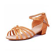 baratos Sapatilhas de Dança-Sapatos de Dança Latina / Dança de Salão Cetim Salto Salto Robusto Não Personalizável Sapatos de Dança Preto / Marrom / Laranja / Couro