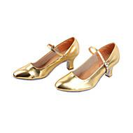 baratos Sapatilhas de Dança-Mulheres Sapatos de Dança Moderna / Dança de Salão Couro Ecológico Salto Salto Robusto Não Personalizável Sapatos de Dança Preto / Prateado / Dourado