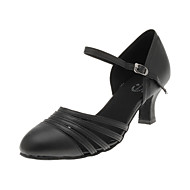 "Women's Modern Ballroom Leatherette Heel Flared Heel Black 2"" - 2 3/4"" Non Customizable"
