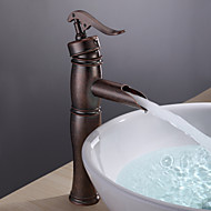 cheap Antique Copper Series-Antique Vessel Waterfall Ceramic Valve One Hole Single Handle One Hole Antique Copper, Bathroom Sink Faucet