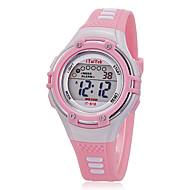 ילדים שעוני ספורט שעון יד שעוני אופנה קווארץ LCD סיליקוןריצה להקה יום יומי שחור לבן ורוד