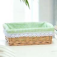 Clássico Pequeno Bege Rattan cesta de lavanderia com manta verde Forro