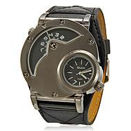 Masculino Relógio Militar Quartzo Dois Fusos Horários PU Banda Preta Preto