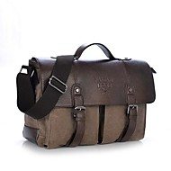 cheap Satchels-Men's Bags Cowhide Canvas Satchel for Casual Summer All Seasons Coffee Brown Green