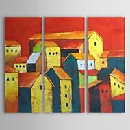 3のストレッチフレームセットのある風景ラブリータウン絵画手描きオイル
