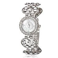 billige Quartz-Dame Quartz Armbåndsur Japansk Imiteret Diamant Legering Bånd Heart Shape Sølv