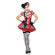 ליצן קרקס הארלי קווין תחפושות קוספליי תחפושת למסיבה בגדי ריקוד נשים חג המולד האלווין (ליל כל הקדושים) קרנבל פסטיבל / חג פּוֹלִיאֶסטֶר תלבושות אדום טלאים