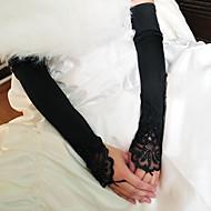 Эластичный сатин / Хлопок До запястья / До плеча Перчатка Кулоны / Стиль / Свадебные перчатки С Вышивка / Однотонные