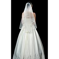 Χαμηλού Κόστους -Μίας Βαθμίδας Φιόγκος Κορδέλας Πέπλα Γάμου Πέπλα Δαχτύλων Με 53,15 ίντσες (135εκ) Τούλι Γραμμή Α, Τουαλέτα, Πριγκίπισσα, Ίσια Γραμμή,