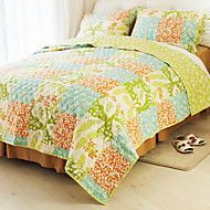Huani® Quilt Set, 3-Piece 100% Cotton Country Style Chequer Pattern Colorful Spring