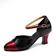 "cheap -Women's Latin Modern Ballroom Leatherette Heel Buckle Chunky Heel Black and Red 2"" - 2 3/4"" Non Customizable"
