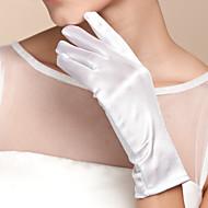 abordables Meilleures Ventes-Satin Coton Longueur Poignet Gant Charme Elégant Gants de Mariée With Broderie Couleur Unie