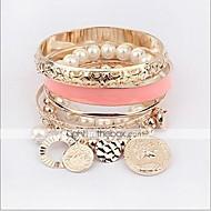 Chaînes Bracelets Bracelet à Perles Femme Multirang Empilable Perle Perle Imitation de perle dames Multicouches Coloré Bracelet Bijoux Doré pour Regalos de Navidad Quotidien