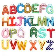 Sjove Magnetisk Alfabet 26 Bogstaver Træ Køleskabsmagneter Pædagogisk Barne Legetøj (26-Pak)